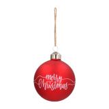 "Besondere Weihnachtskugel ""Merry Christmas"", rot, Glas, 8 cm"