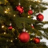 36 kleine Weihnachtskugeln rot, Kunststoff, 2,5-5 cm