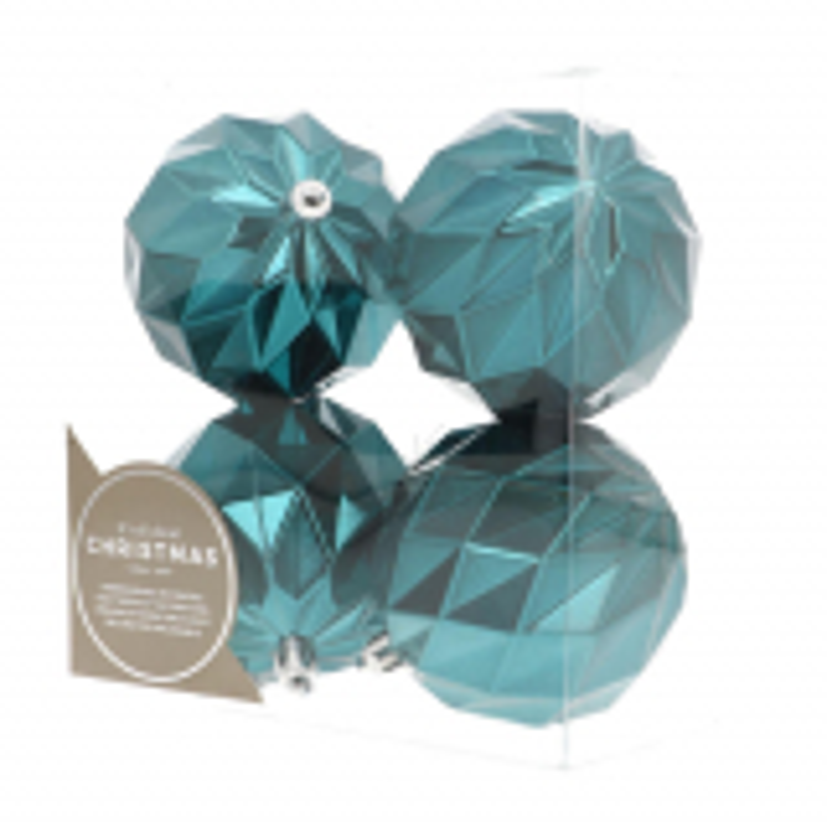 4 Design-Weihnachtskugeln petrol, Kunststoff, 8 cm