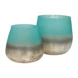 Teelichthalter Lys türkis, Glas, 10cm