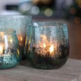 Teelichthalter Lys Krakelee, türkis, Glas, 10cm