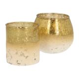 Teelichthalter Esbo, gold, Glas, 8,5 cm