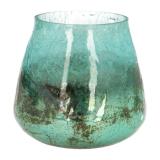 Teelichthalter Kemi Krakelee, türkis, Glas, 8,5 cm