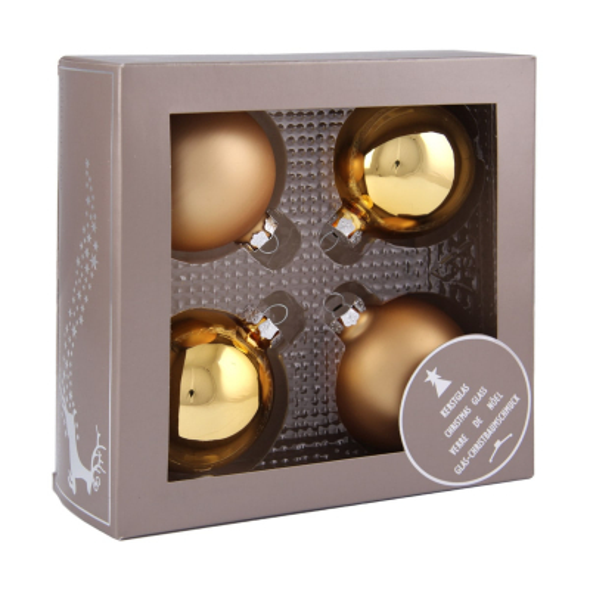 4er Set Weihnachtskugeln gold, Glas, 7 cm