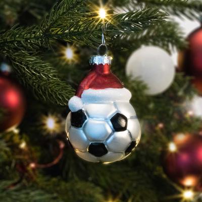 Anhänger Fußball, schwarz-silber, Glas, 8 cm