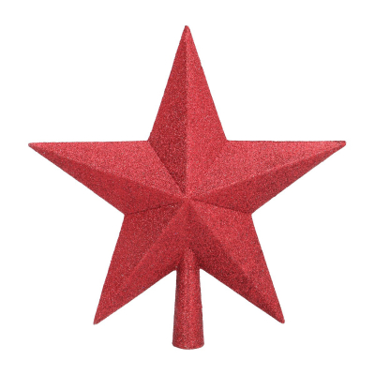 Christbaumspitze Stern mit Glitzer, rot, Kunststoff, 22 cm