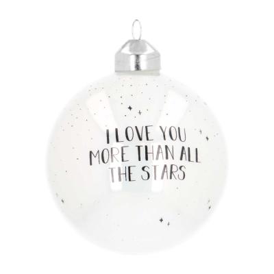 """Besondere Weihnachtskugel """"Love you more"""", weiß, Glas, 8 cm"""