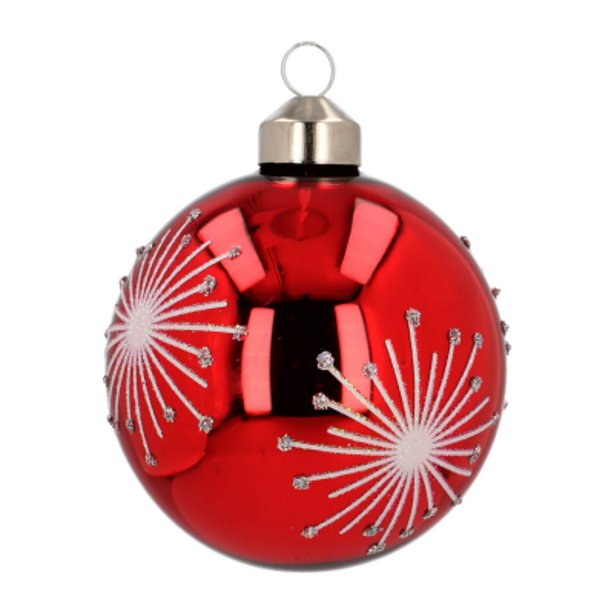 Edle Weihnachtskugel Feuerwerk, rot, Glas, 8 cm