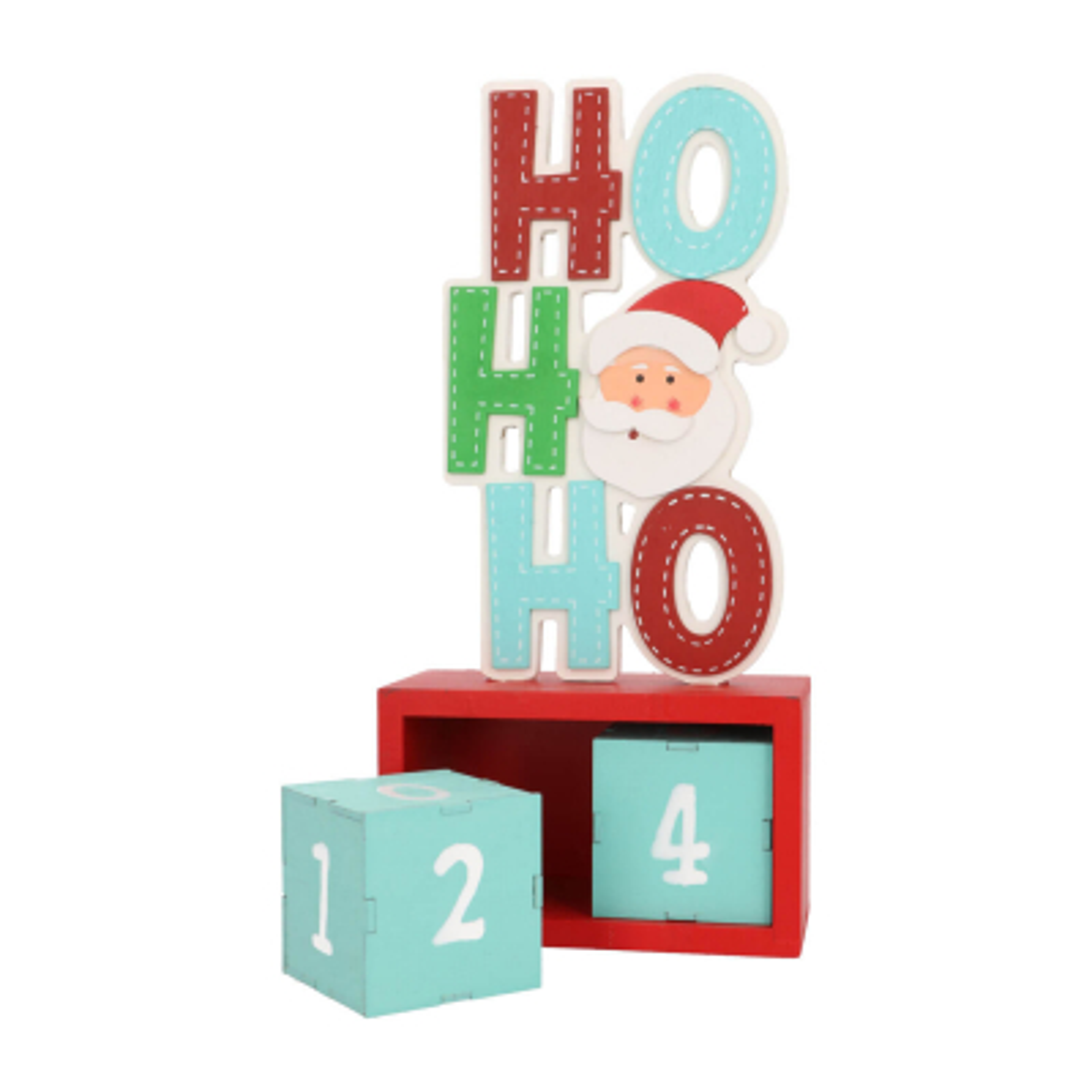 Adventskalender Ho Ho Ho, rot-blau, Holz, 30 cm