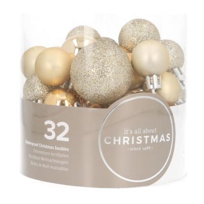 32 Mini Weihnachtskugeln hellgold, Kunststoff, 2,5-4 cm