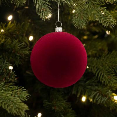 Samt Weihnachtskugel, bordeaux, Kunststoff, 8 cm