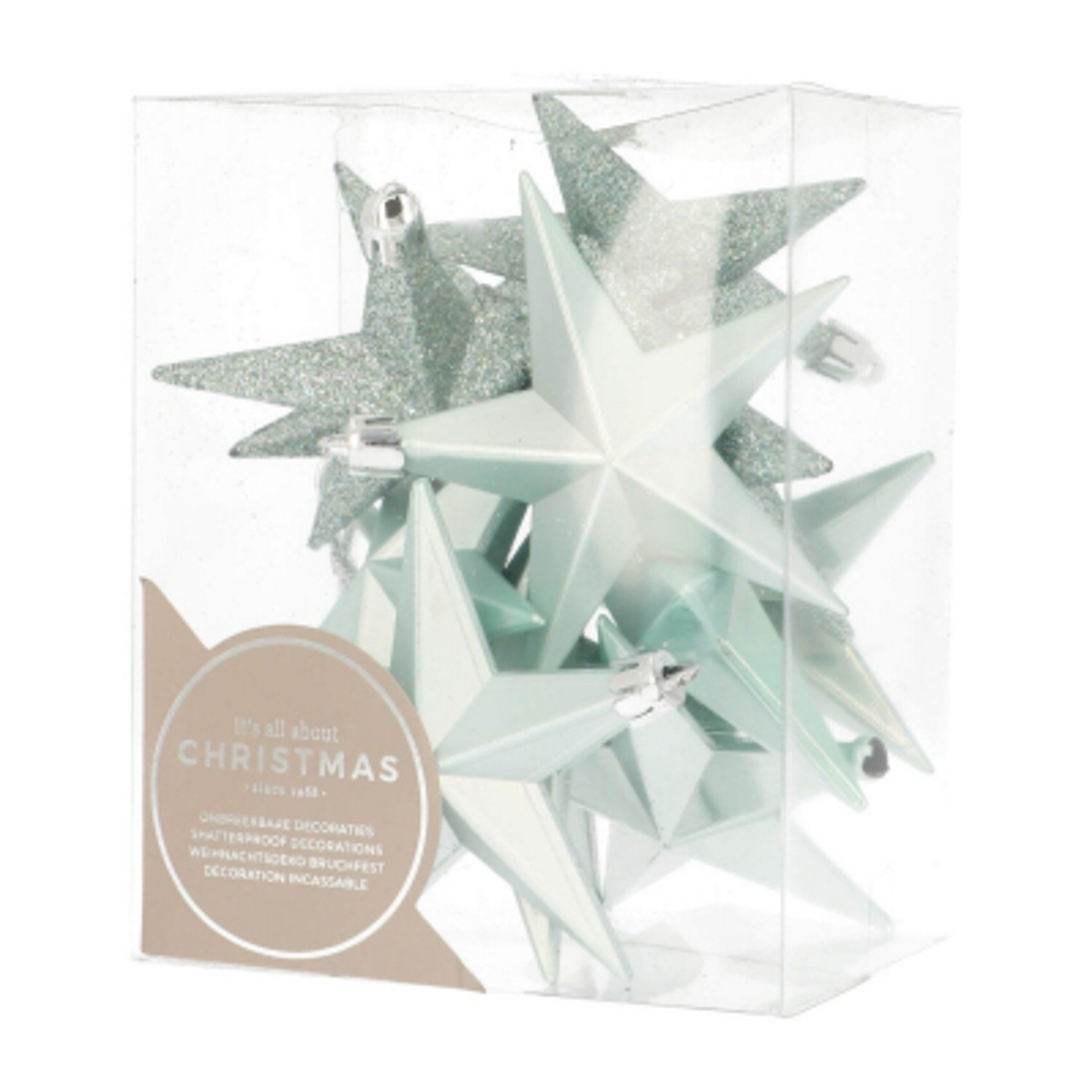 12 Christbaumschmuck Sterne zartblau, Kunststoff, 10 cm