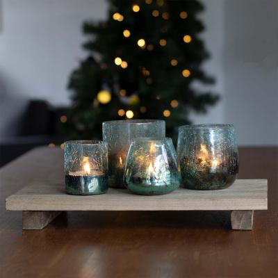 Teelichthalter Vanda Krakelee, türkis, Glas, 10,5 cm