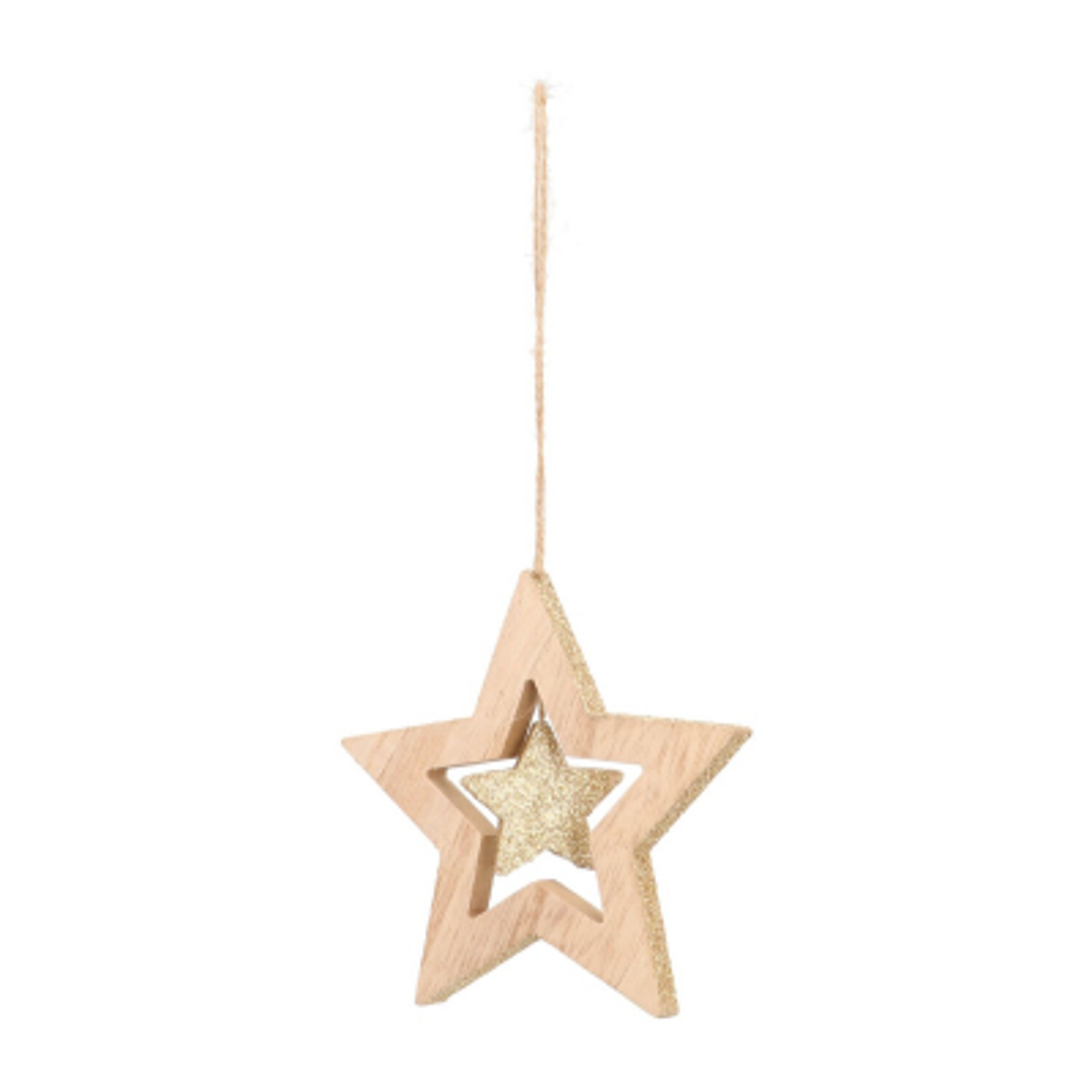 Anhänger Stern in Stern natur-champagner, Holz, 12 cm