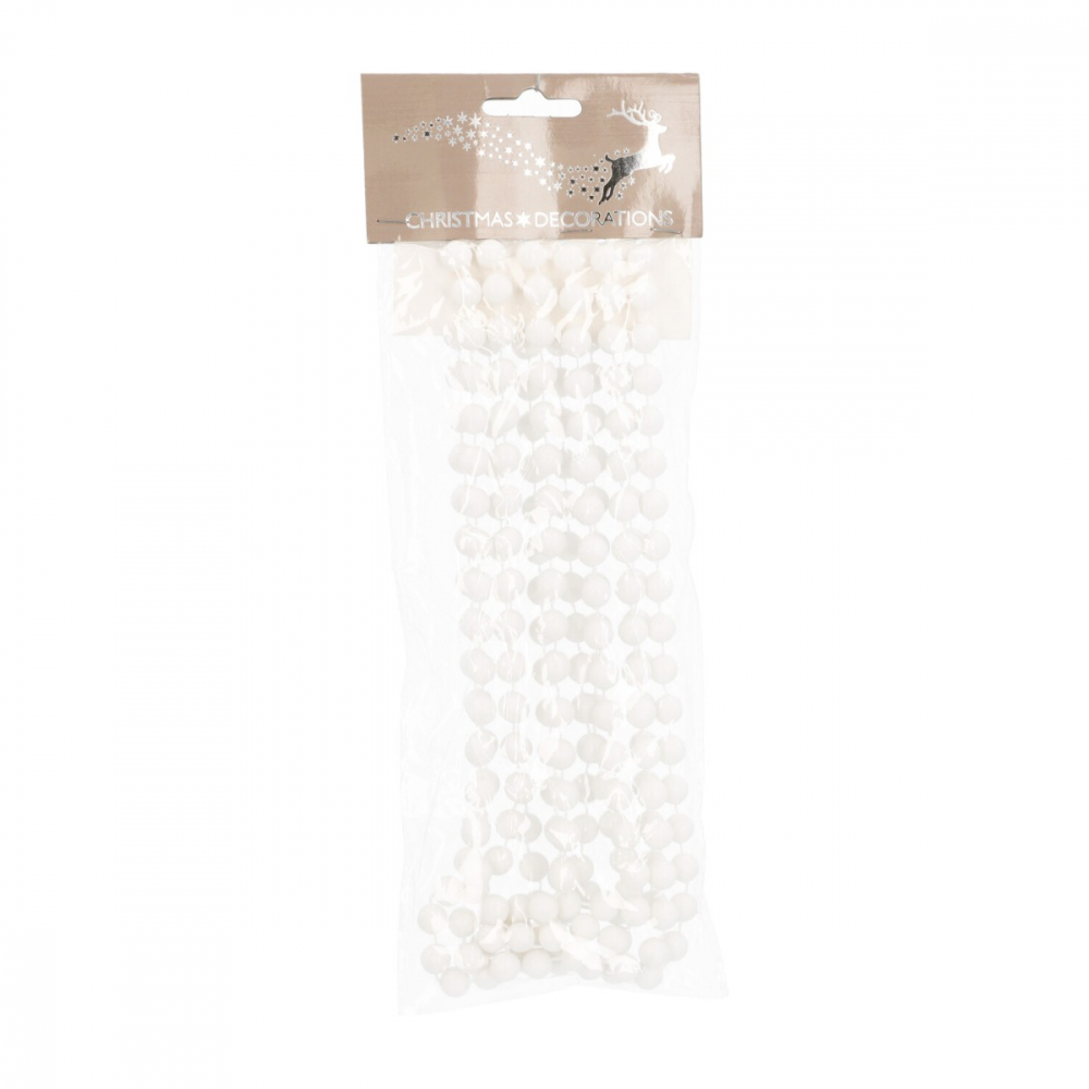 Weihnachtsbaum Perlenkette weiß, 270 cm x 10 mm