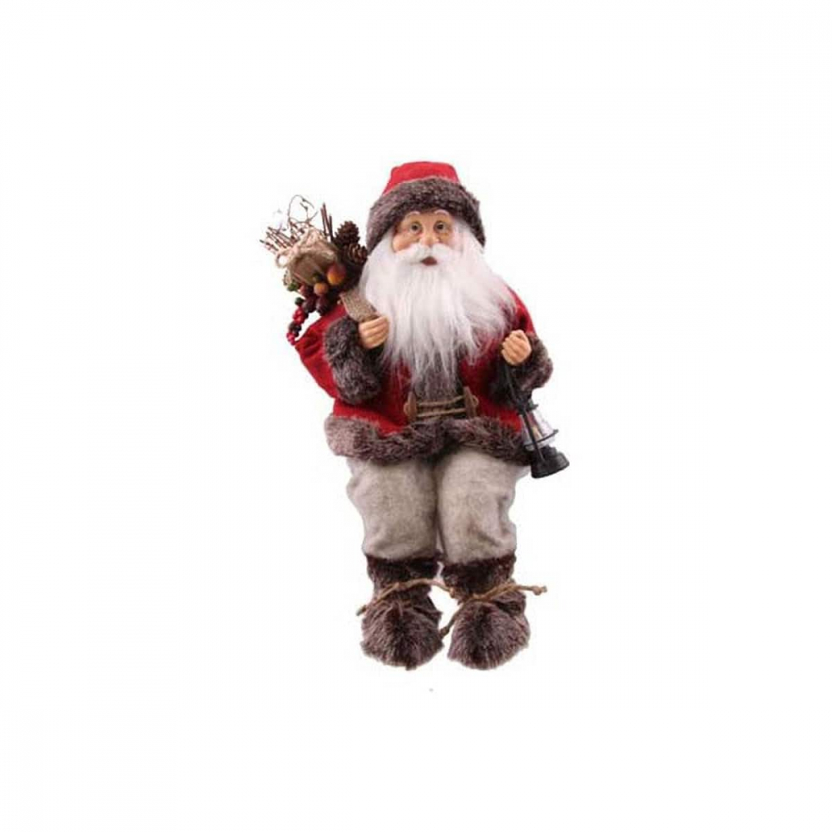 Luxus-Figur Weihnachtsmann klassisch sitzend rot, 45 cm
